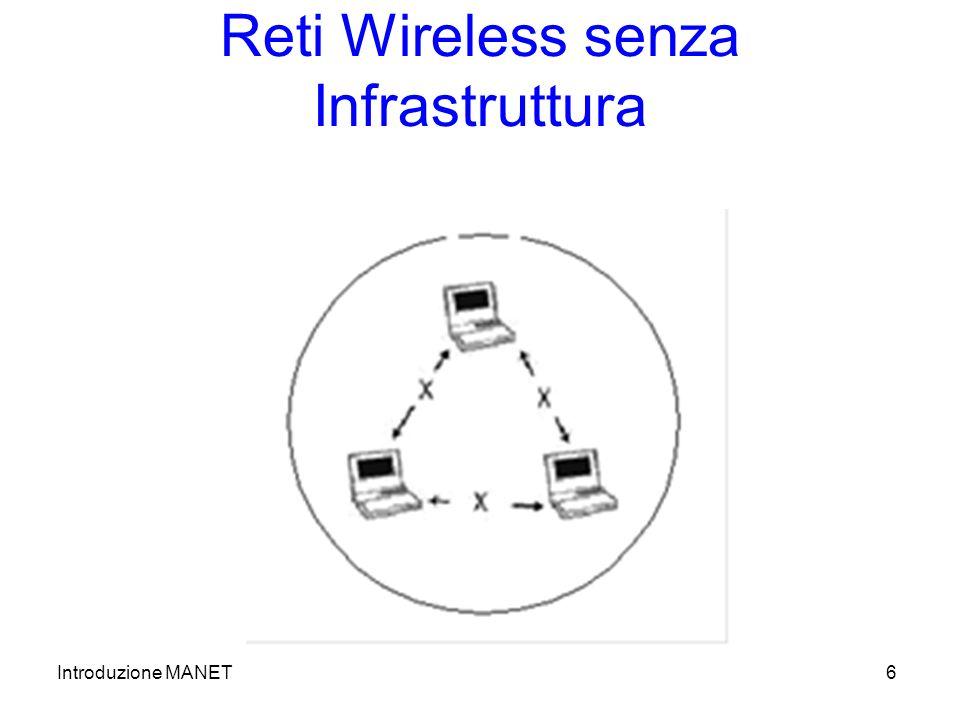 Introduzione MANET6 Reti Wireless senza Infrastruttura