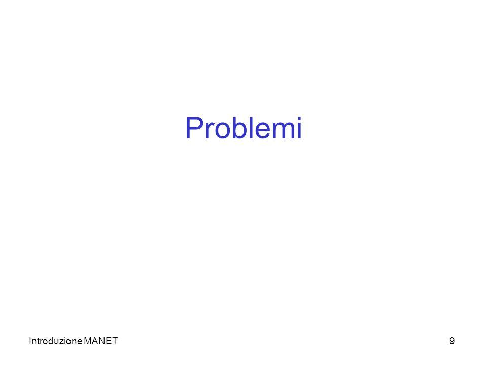 Introduzione MANET9 Problemi