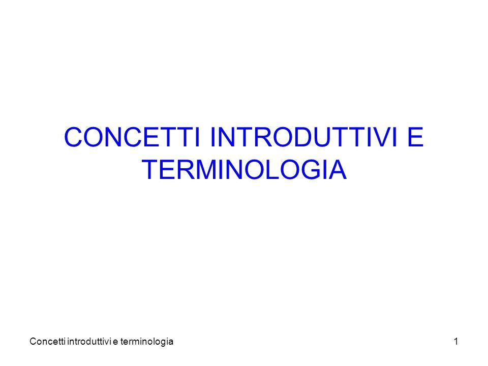 Concetti introduttivi e terminologia1 CONCETTI INTRODUTTIVI E TERMINOLOGIA