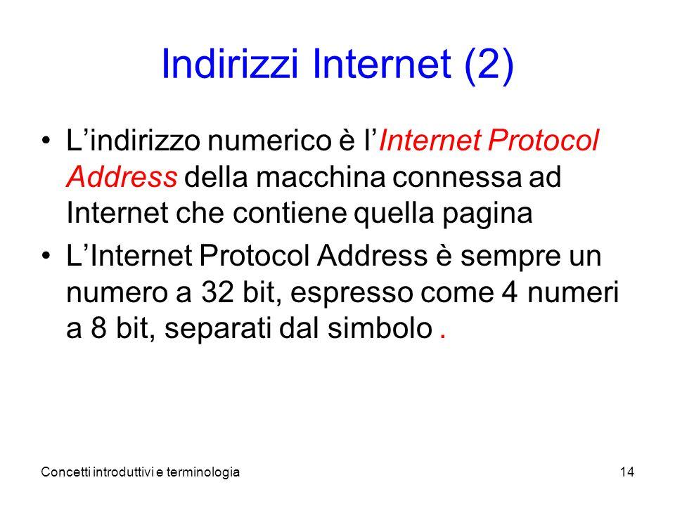 Concetti introduttivi e terminologia14 Indirizzi Internet (2) Lindirizzo numerico è lInternet Protocol Address della macchina connessa ad Internet che contiene quella pagina LInternet Protocol Address è sempre un numero a 32 bit, espresso come 4 numeri a 8 bit, separati dal simbolo.