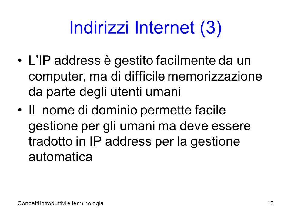 Concetti introduttivi e terminologia15 Indirizzi Internet (3) LIP address è gestito facilmente da un computer, ma di difficile memorizzazione da parte degli utenti umani Il nome di dominio permette facile gestione per gli umani ma deve essere tradotto in IP address per la gestione automatica