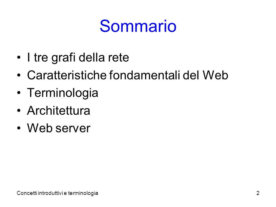 Concetti introduttivi e terminologia2 Sommario I tre grafi della rete Caratteristiche fondamentali del Web Terminologia Architettura Web server
