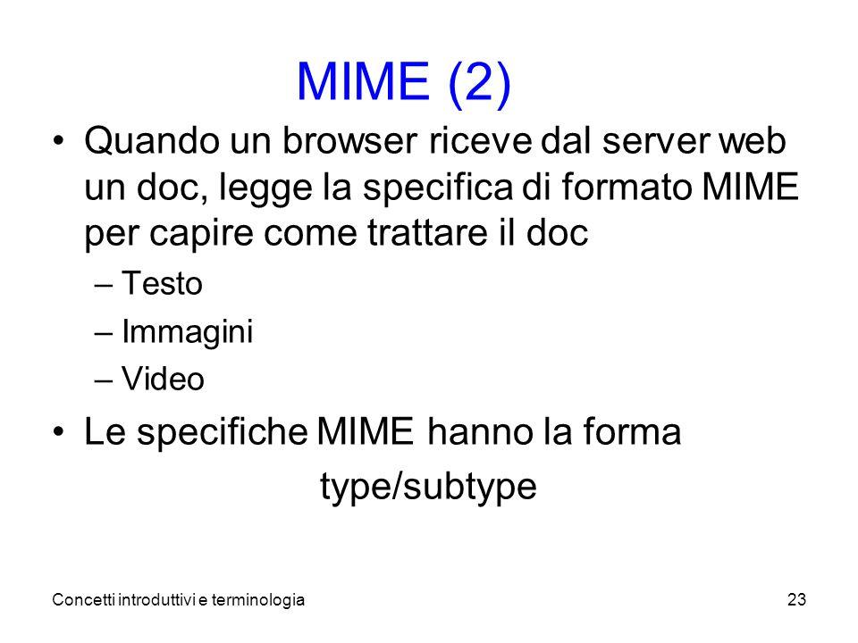 Concetti introduttivi e terminologia23 MIME (2) Quando un browser riceve dal server web un doc, legge la specifica di formato MIME per capire come trattare il doc –Testo –Immagini –Video Le specifiche MIME hanno la forma type/subtype