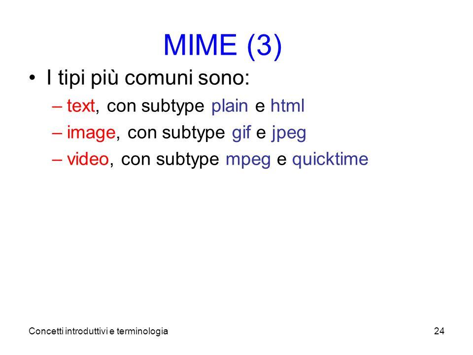 Concetti introduttivi e terminologia24 MIME (3) I tipi più comuni sono: –text, con subtype plain e html –image, con subtype gif e jpeg –video, con subtype mpeg e quicktime