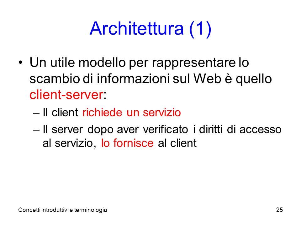 Concetti introduttivi e terminologia25 Architettura (1) Un utile modello per rappresentare lo scambio di informazioni sul Web è quello client-server: –Il client richiede un servizio –Il server dopo aver verificato i diritti di accesso al servizio, lo fornisce al client