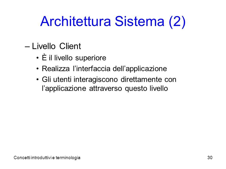 Concetti introduttivi e terminologia30 Architettura Sistema (2) –Livello Client È il livello superiore Realizza linterfaccia dellapplicazione Gli utenti interagiscono direttamente con lapplicazione attraverso questo livello