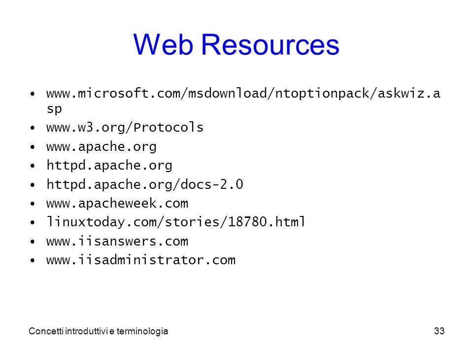 Concetti introduttivi e terminologia33 Web Resources www.microsoft.com/msdownload/ntoptionpack/askwiz.a sp www.w3.org/Protocols www.apache.org httpd.apache.org httpd.apache.org/docs-2.0 www.apacheweek.com linuxtoday.com/stories/18780.html www.iisanswers.com www.iisadministrator.com