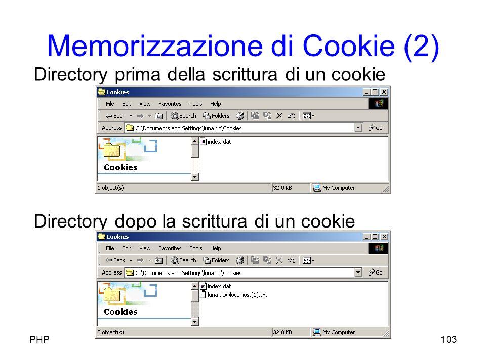 Memorizzazione di Cookie (2) 103 Directory prima della scrittura di un cookie Directory dopo la scrittura di un cookie PHP