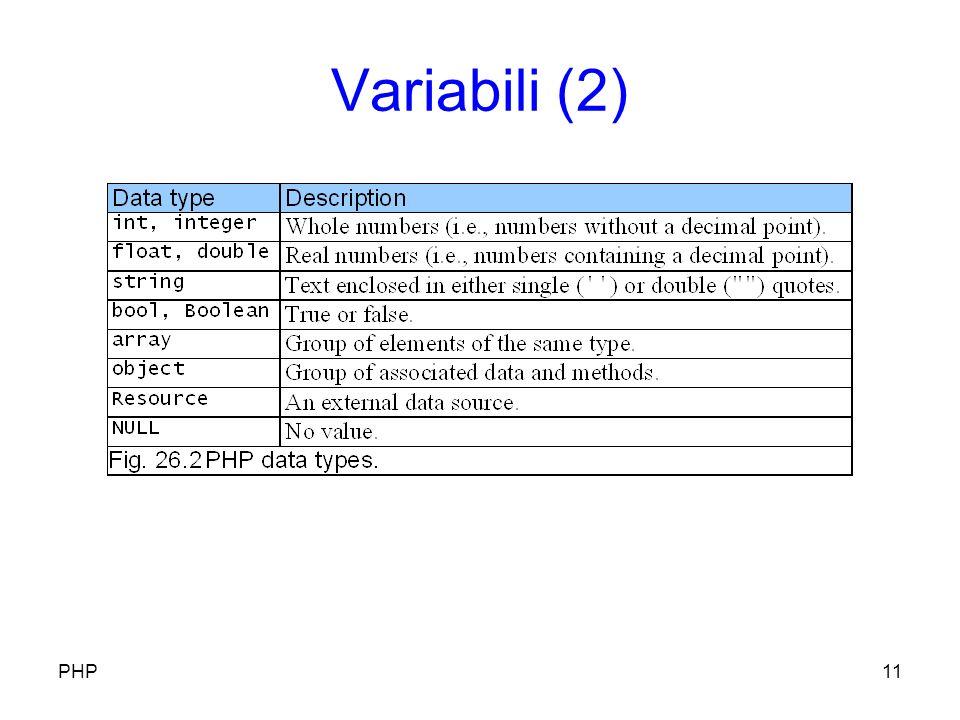 Variabili (2) PHP11