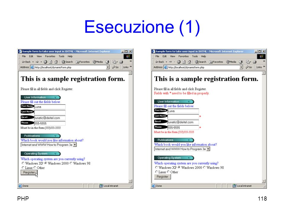 Esecuzione (1) 118PHP