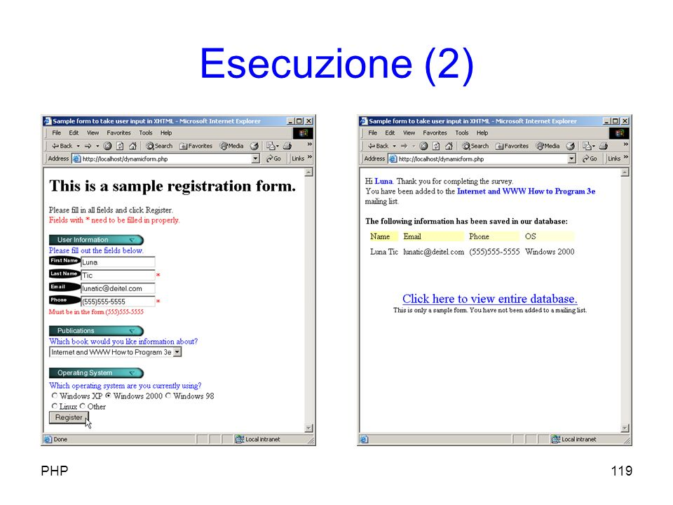 Esecuzione (2) 119PHP