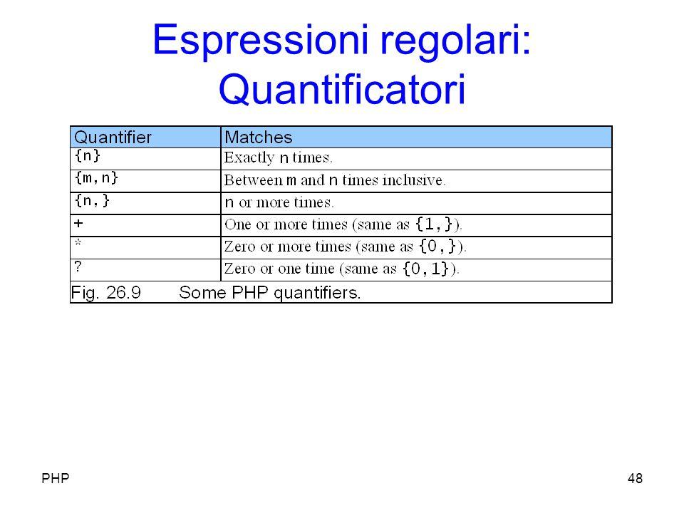 Espressioni regolari: Quantificatori PHP48