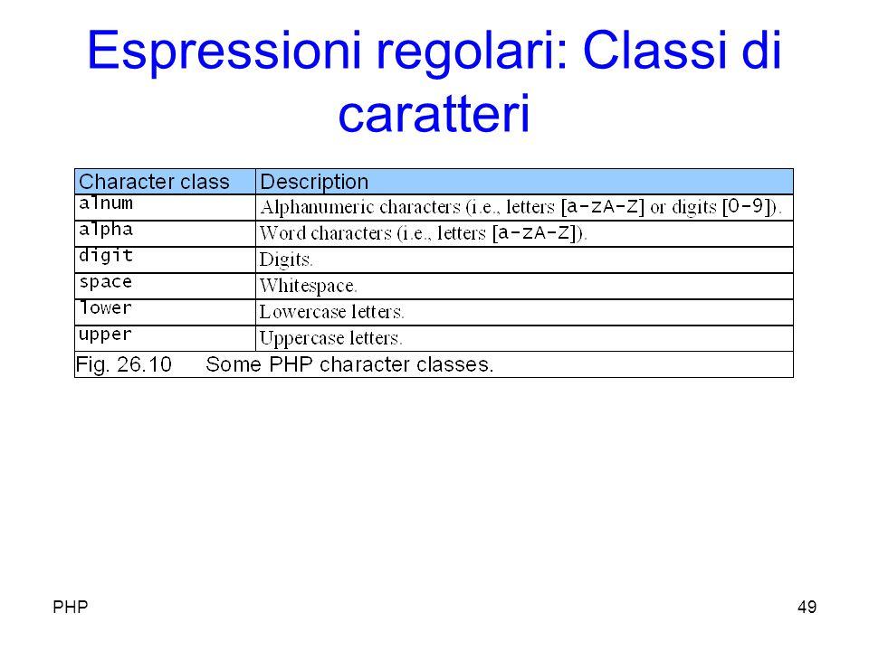 Espressioni regolari: Classi di caratteri PHP49