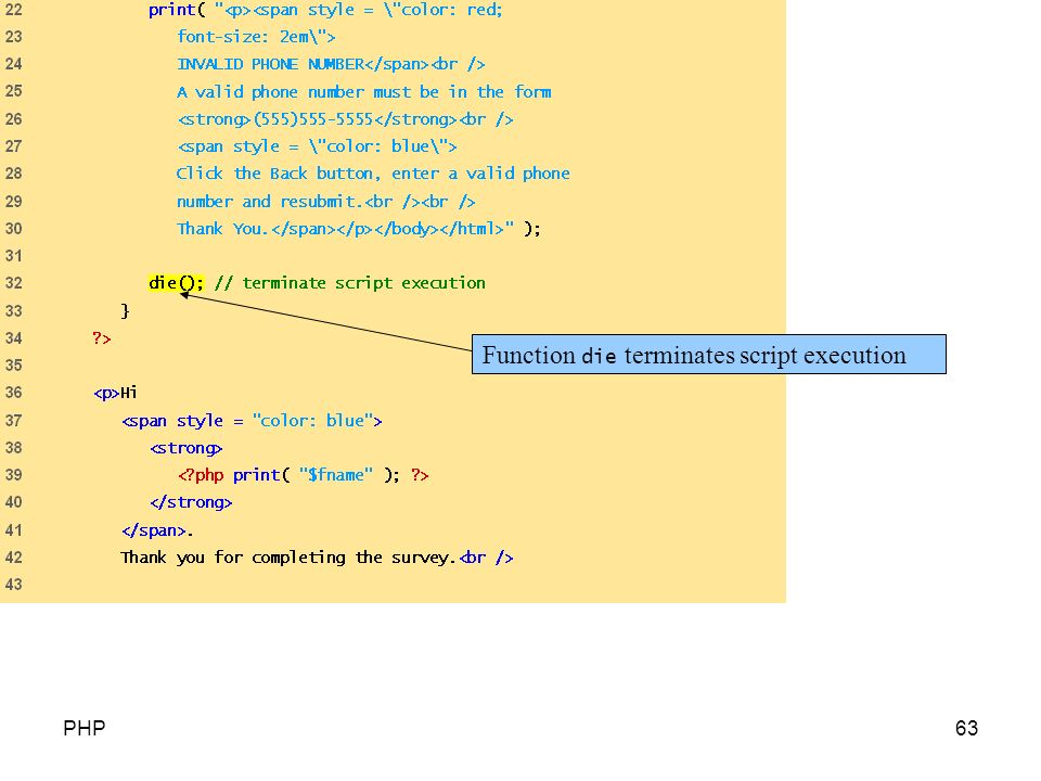 Function die terminates script execution PHP63