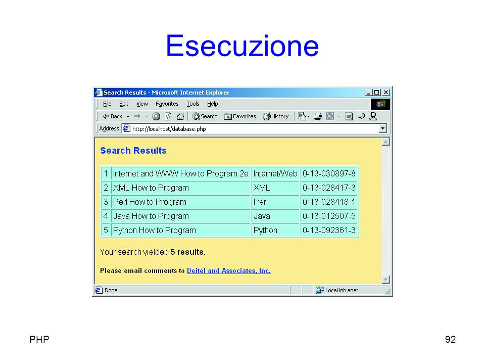 Esecuzione 92PHP