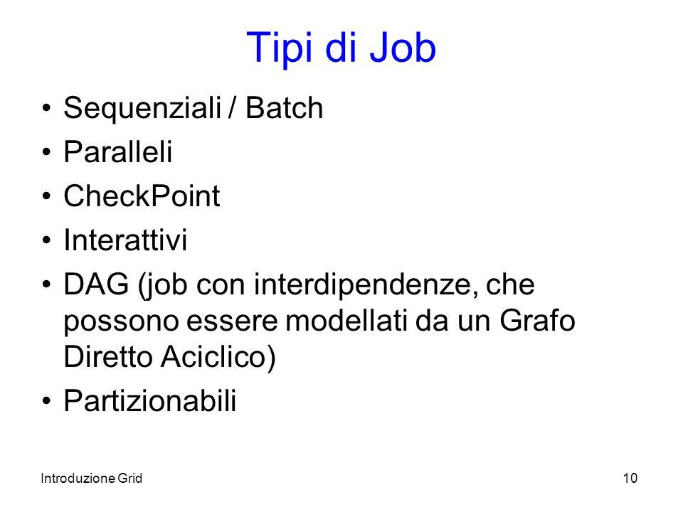 Introduzione Grid10 Tipi di Job Sequenziali / Batch Paralleli CheckPoint Interattivi DAG (job con interdipendenze, che possono essere modellati da un