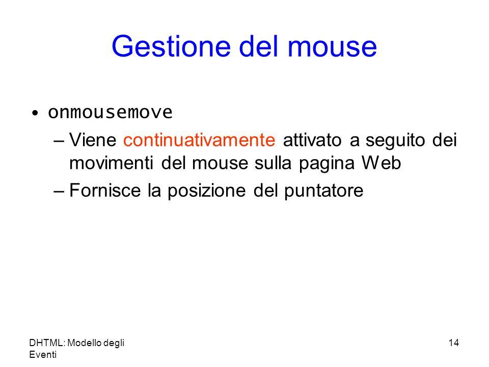 DHTML: Modello degli Eventi 14 Gestione del mouse onmousemove –Viene continuativamente attivato a seguito dei movimenti del mouse sulla pagina Web –Fornisce la posizione del puntatore