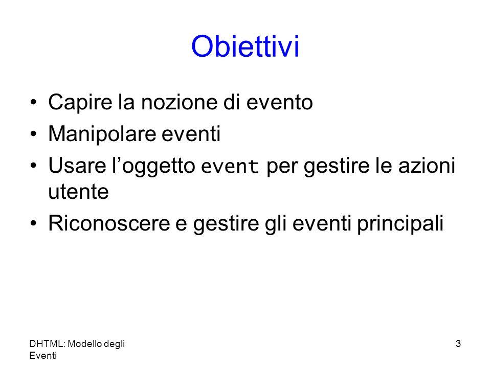 DHTML: Modello degli Eventi 3 Obiettivi Capire la nozione di evento Manipolare eventi Usare loggetto event per gestire le azioni utente Riconoscere e gestire gli eventi principali