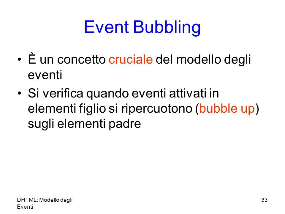 DHTML: Modello degli Eventi 33 Event Bubbling È un concetto cruciale del modello degli eventi Si verifica quando eventi attivati in elementi figlio si ripercuotono (bubble up) sugli elementi padre