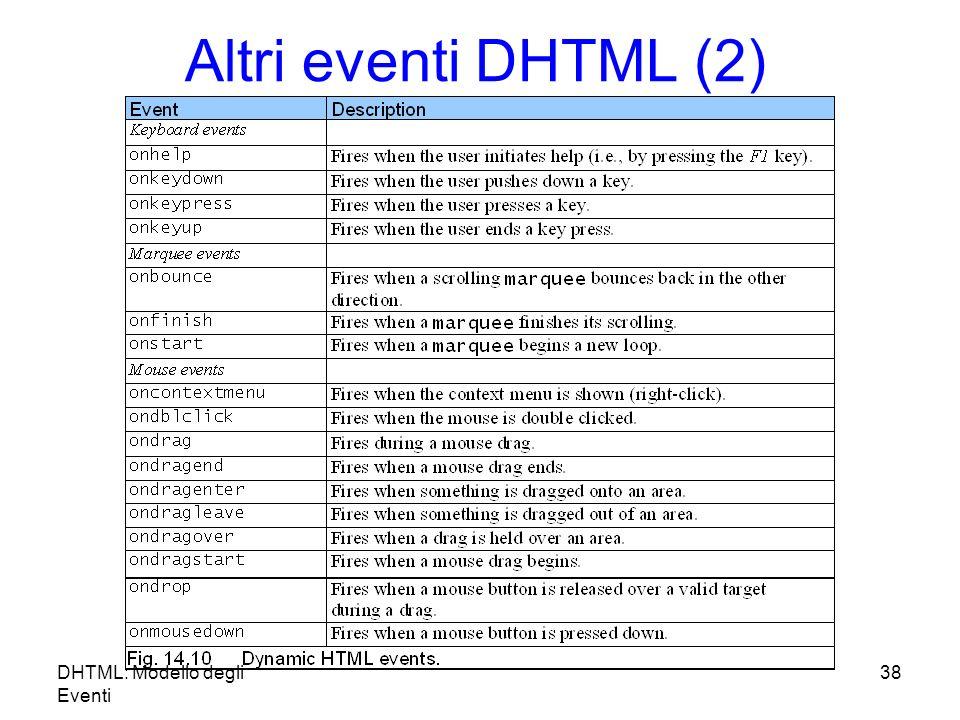 DHTML: Modello degli Eventi 38 Altri eventi DHTML (2)