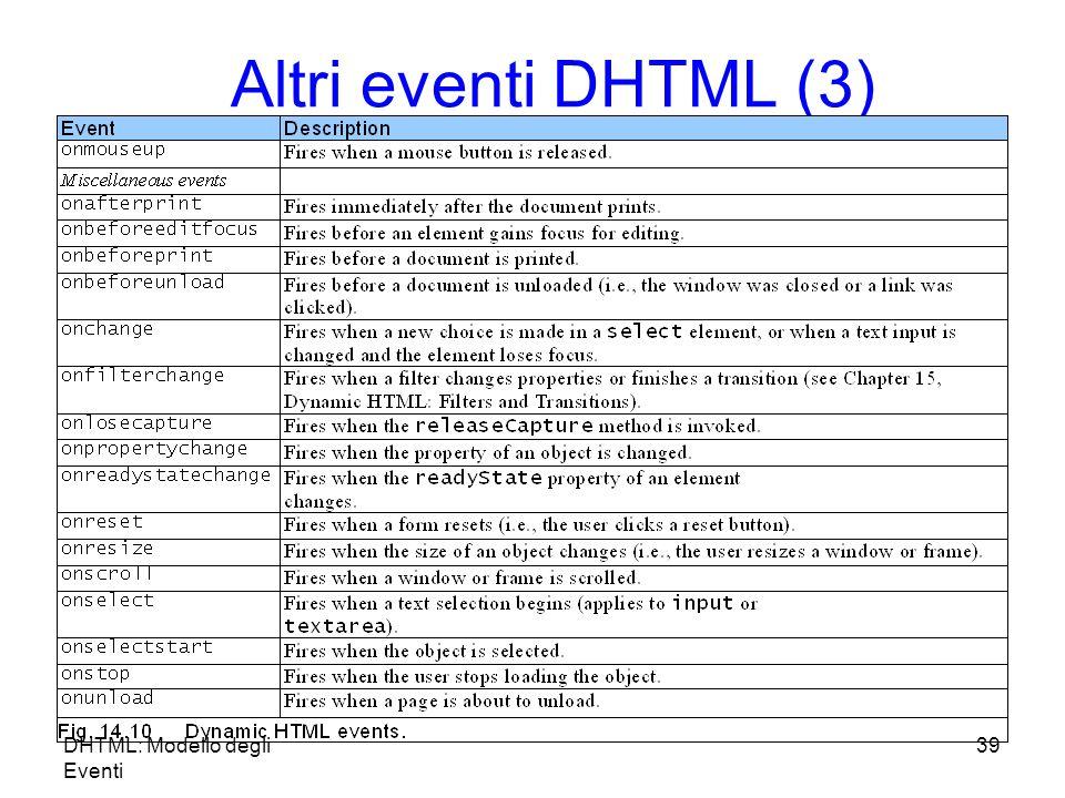 DHTML: Modello degli Eventi 39 Altri eventi DHTML (3)