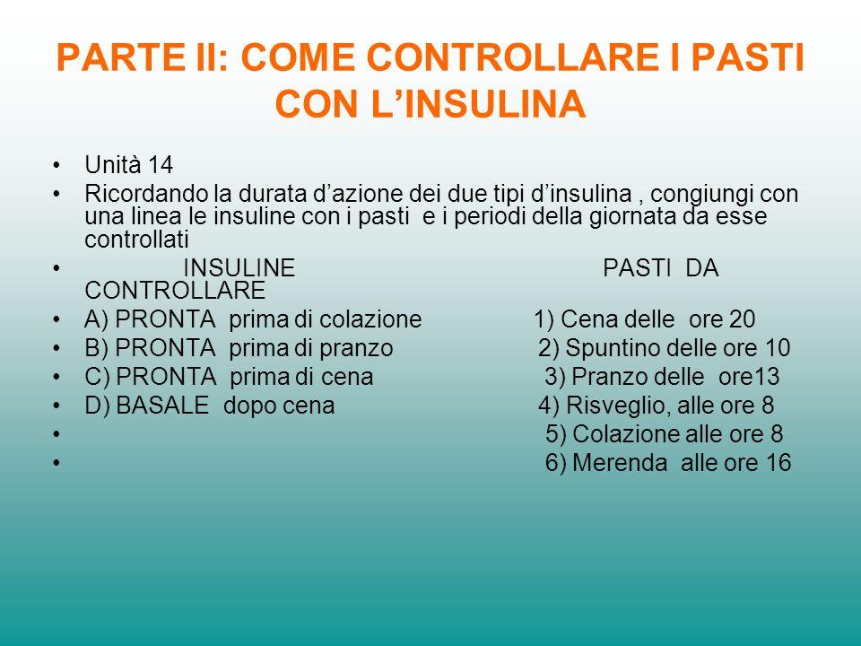 PARTE II: COME CONTROLLARE I PASTI CON LINSULINA Unità 14 Ricordando la durata dazione dei due tipi dinsulina, congiungi con una linea le insuline con
