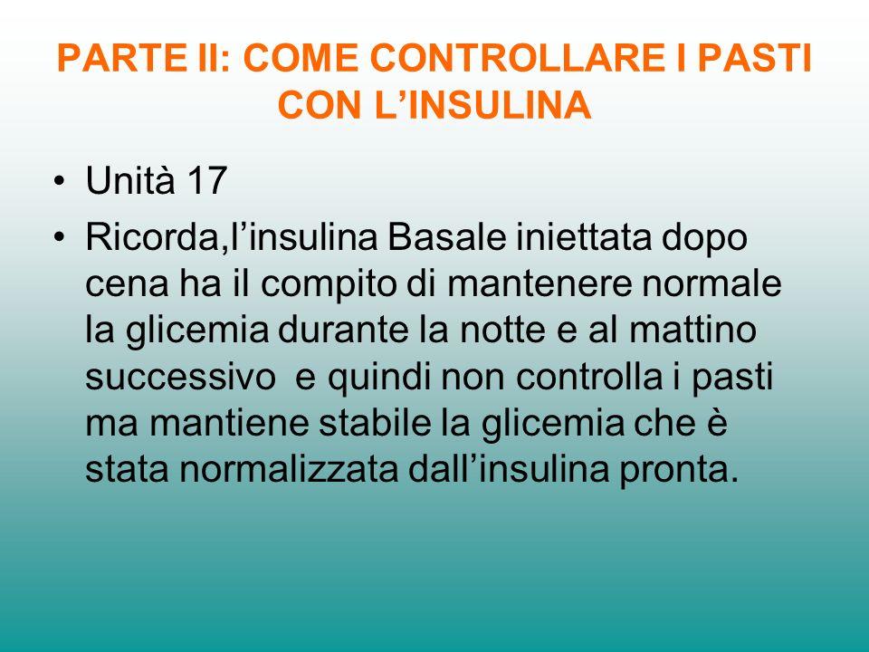 PARTE II: COME CONTROLLARE I PASTI CON LINSULINA Unità 17 Ricorda,linsulina Basale iniettata dopo cena ha il compito di mantenere normale la glicemia