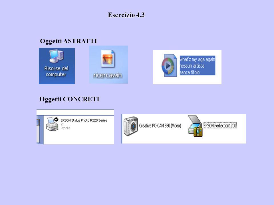 Esercizio 4.3 Oggetti ASTRATTI Oggetti CONCRETI