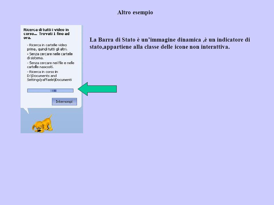 Altro esempio La Barra di Stato è unimmagine dinamica,è un indicatore di stato,appartiene alla classe delle icone non interattiva.