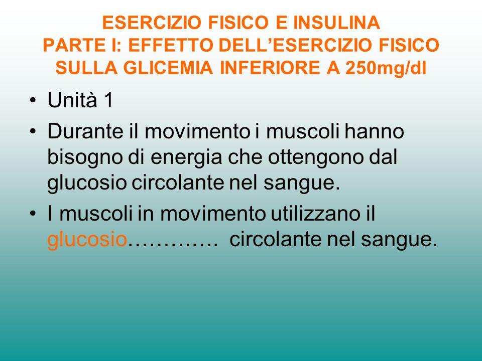 ESERCIZIO FISICO E INSULINA PARTE I: EFFETTO DELLESERCIZIO FISICO SULLA GLICEMIA INFERIORE A 250mg/dl Unità 2 Durante lesercizio i muscoli in movimento utilizzano il glucosio circolante nel sangue e fanno diminuire la glicemia.