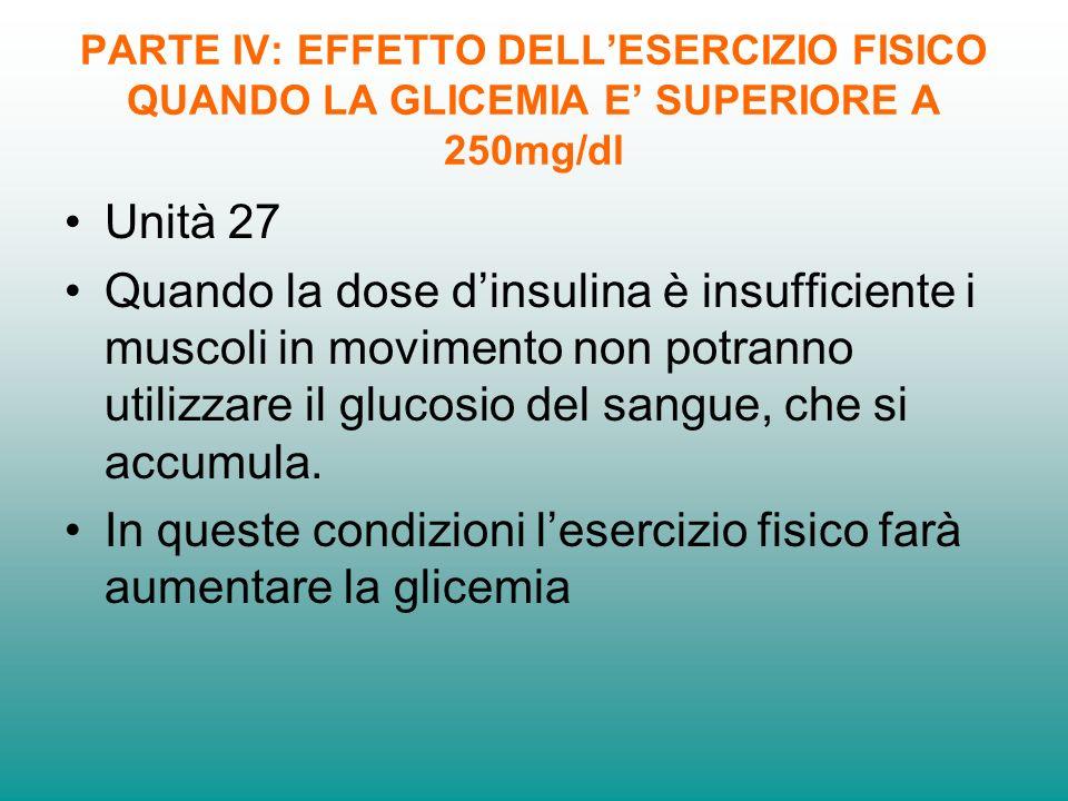 PARTE IV: EFFETTO DELLESERCIZIO FISICO QUANDO LA GLICEMIA E SUPERIORE A 250mg/dl Unità 27 Quando la dose dinsulina è insufficiente i muscoli in movimento non potranno utilizzare il glucosio del sangue, che si accumula.