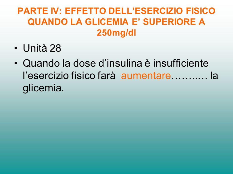 PARTE IV: EFFETTO DELLESERCIZIO FISICO QUANDO LA GLICEMIA E SUPERIORE A 250mg/dl Unità 28 Quando la dose dinsulina è insufficiente lesercizio fisico farà aumentare……..… la glicemia.