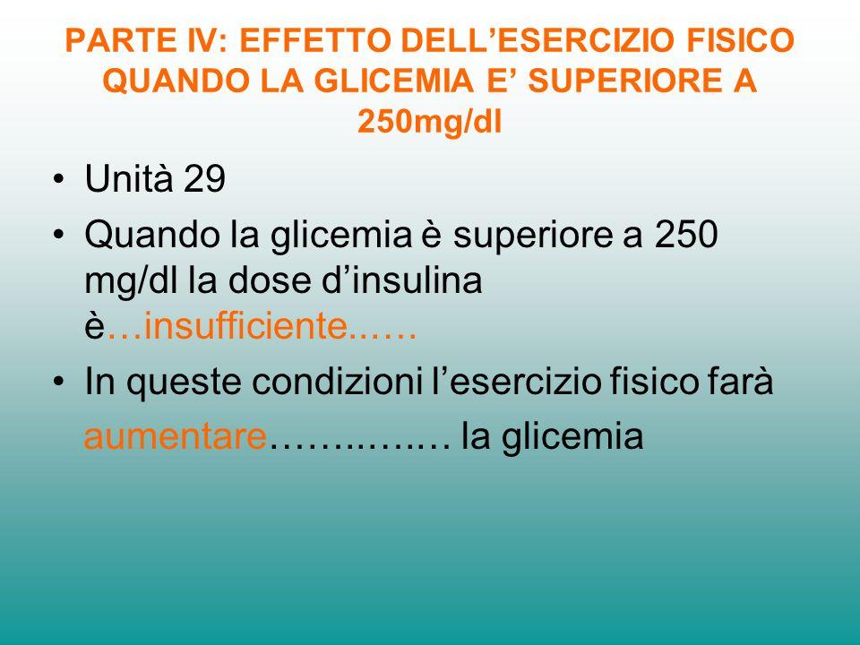 PARTE IV: EFFETTO DELLESERCIZIO FISICO QUANDO LA GLICEMIA E SUPERIORE A 250mg/dl Unità 29 Quando la glicemia è superiore a 250 mg/dl la dose dinsulina è…insufficiente..….