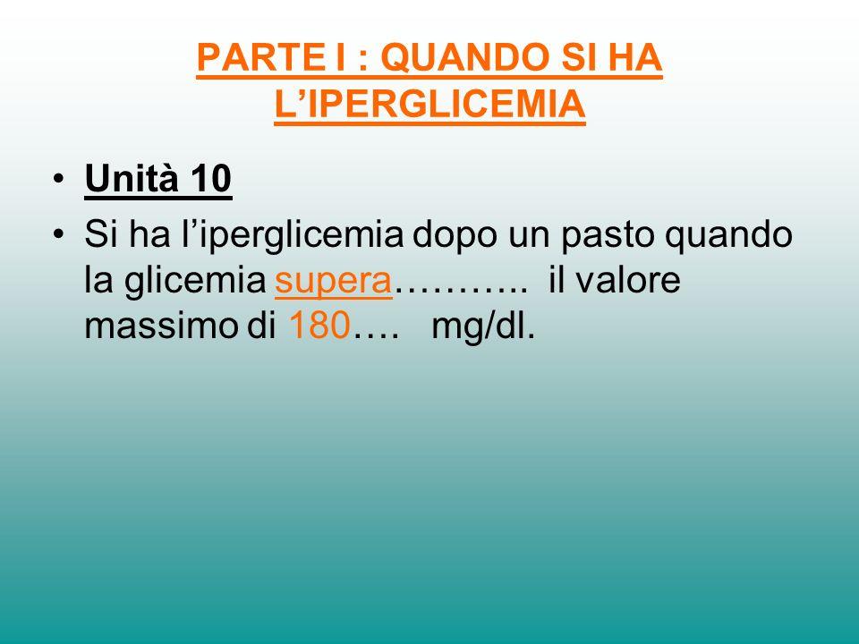 PARTE I : QUANDO SI HA LIPERGLICEMIA Unità 10 Si ha liperglicemia dopo un pasto quando la glicemia supera……….. il valore massimo di 180…. mg/dl.