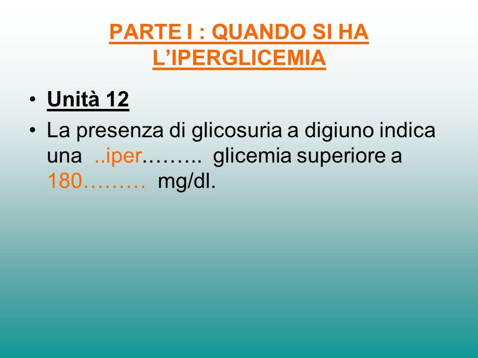 PARTE I : QUANDO SI HA LIPERGLICEMIA Unità 12 La presenza di glicosuria a digiuno indica una..iper.…….. glicemia superiore a 180……… mg/dl.