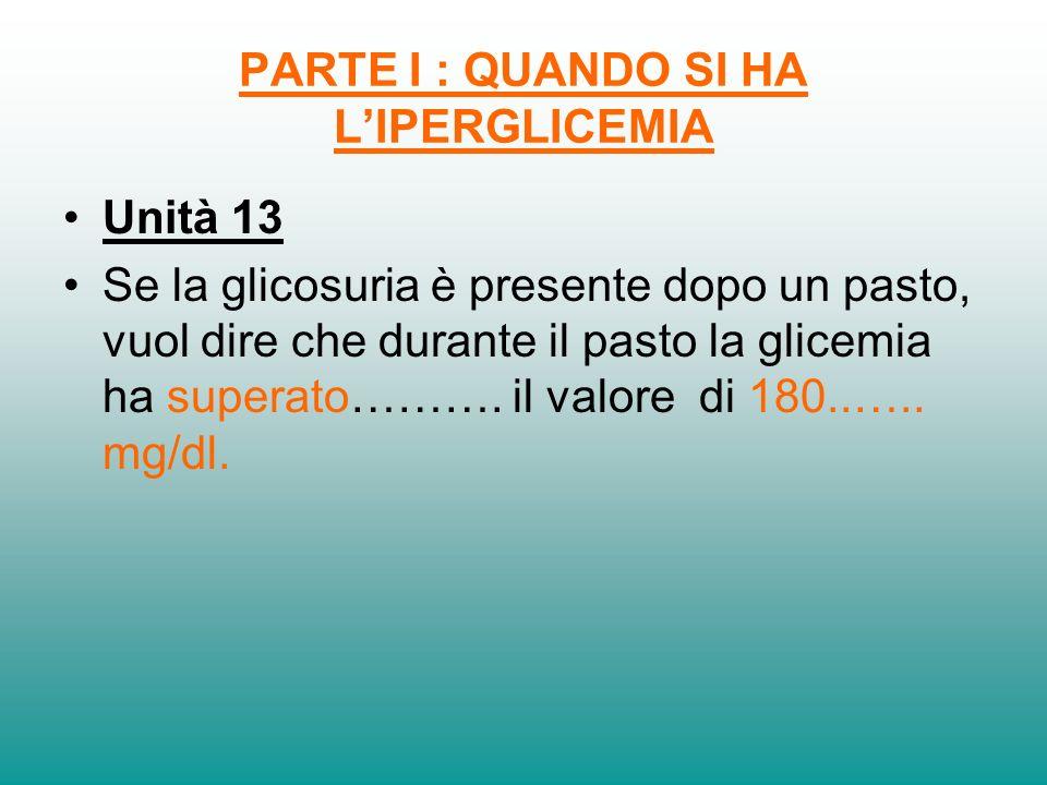 PARTE I : QUANDO SI HA LIPERGLICEMIA Unità 13 Se la glicosuria è presente dopo un pasto, vuol dire che durante il pasto la glicemia ha superato………. il