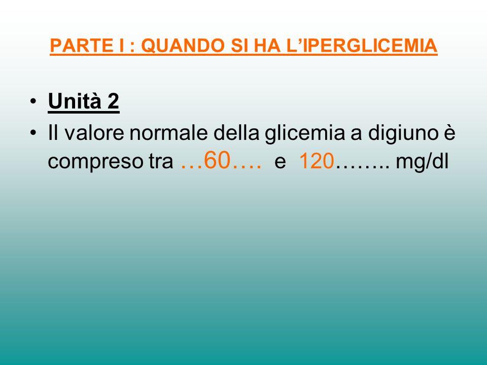 PARTE I : QUANDO SI HA LIPERGLICEMIA Unità 2 Il valore normale della glicemia a digiuno è compreso tra …60…. e 120…….. mg/dl