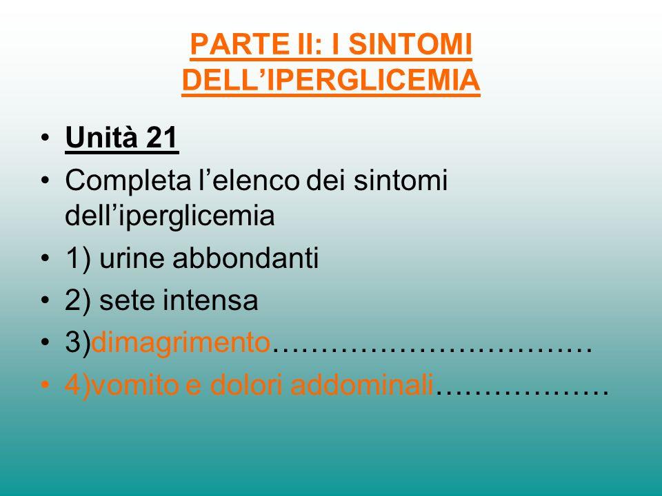 PARTE II: I SINTOMI DELLIPERGLICEMIA Unità 21 Completa lelenco dei sintomi delliperglicemia 1) urine abbondanti 2) sete intensa 3)dimagrimento……………………