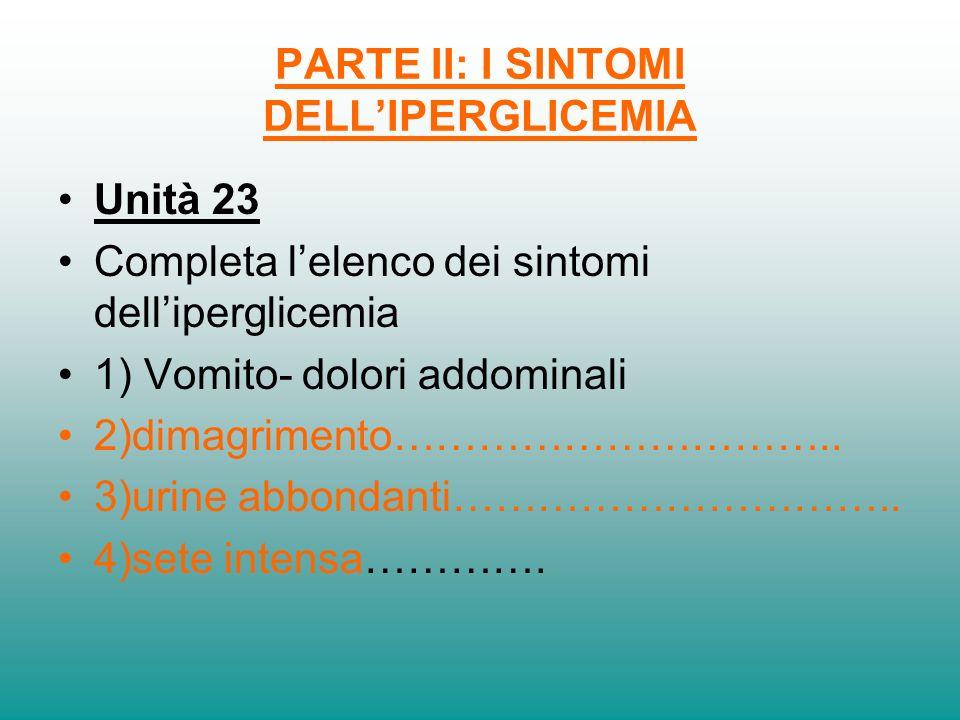PARTE II: I SINTOMI DELLIPERGLICEMIA Unità 23 Completa lelenco dei sintomi delliperglicemia 1) Vomito- dolori addominali 2)dimagrimento………………………….. 3)
