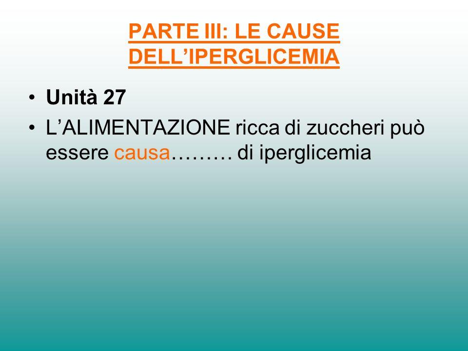 PARTE III: LE CAUSE DELLIPERGLICEMIA Unità 27 LALIMENTAZIONE ricca di zuccheri può essere causa……… di iperglicemia