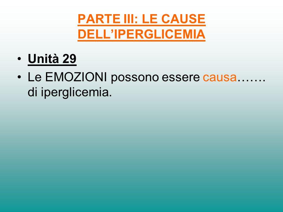 PARTE III: LE CAUSE DELLIPERGLICEMIA Unità 29 Le EMOZIONI possono essere causa……. di iperglicemia.