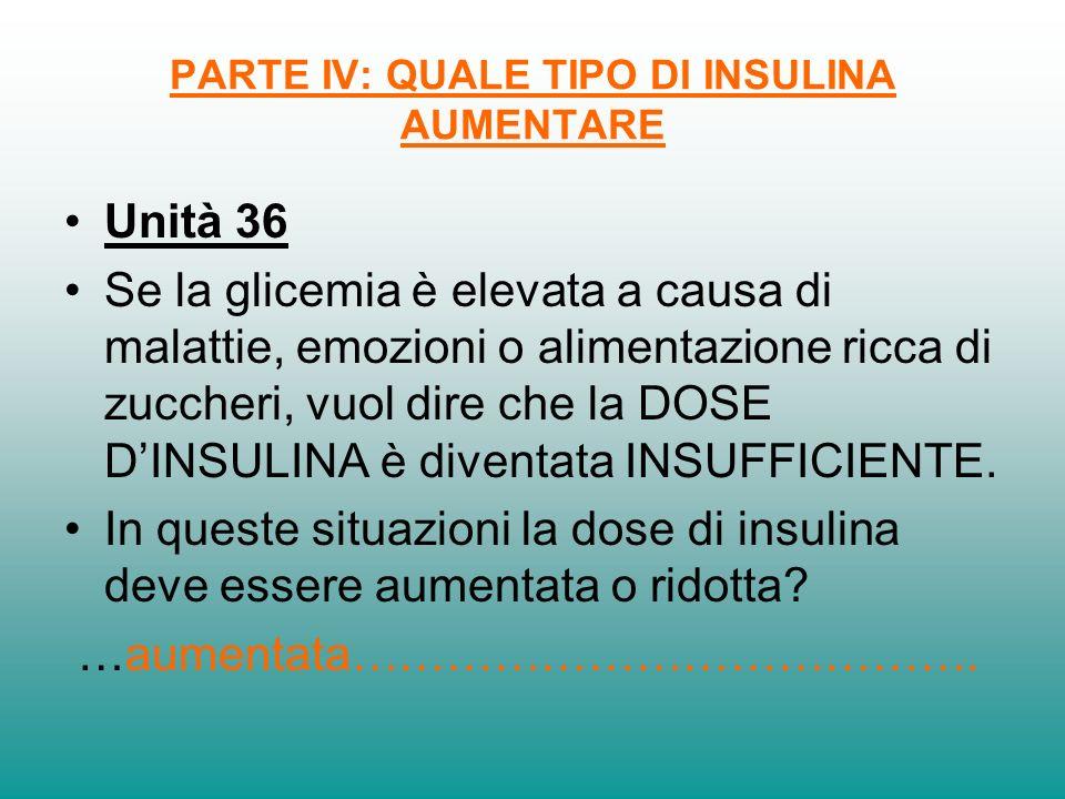 PARTE IV: QUALE TIPO DI INSULINA AUMENTARE Unità 36 Se la glicemia è elevata a causa di malattie, emozioni o alimentazione ricca di zuccheri, vuol dir