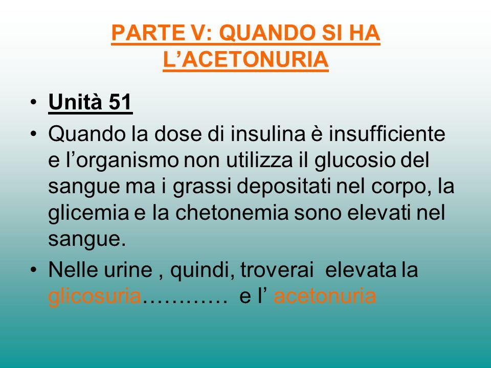 PARTE V: QUANDO SI HA LACETONURIA Unità 51 Quando la dose di insulina è insufficiente e lorganismo non utilizza il glucosio del sangue ma i grassi dep