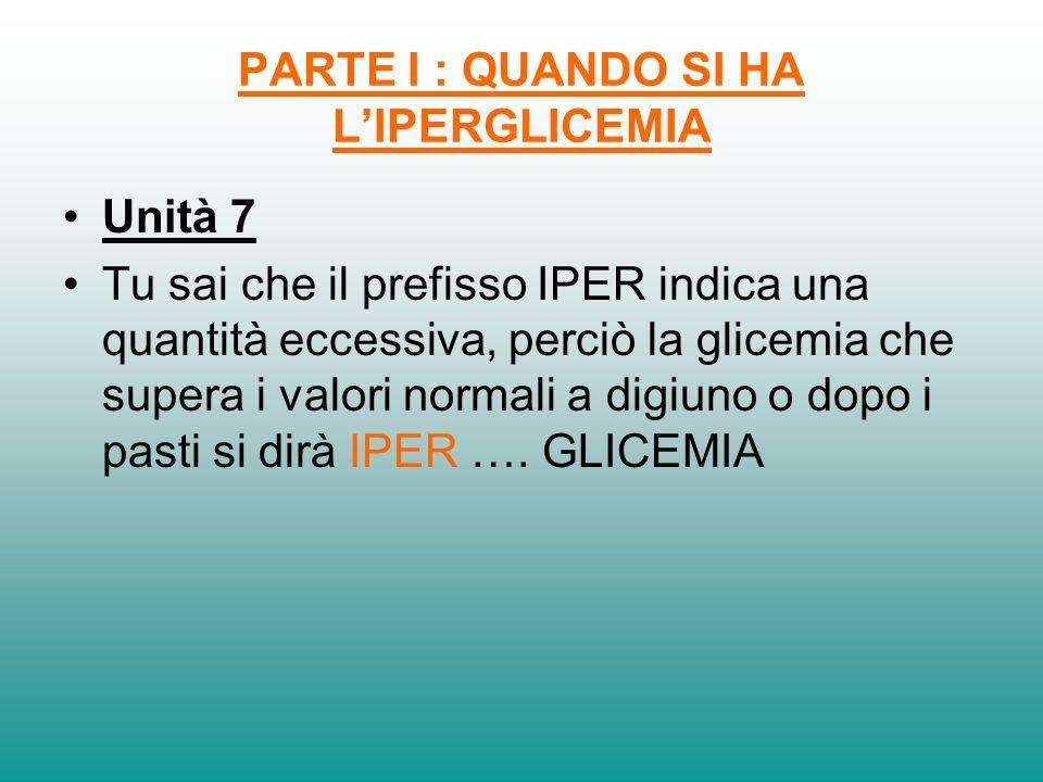 PARTE I : QUANDO SI HA LIPERGLICEMIA Unità 7 Tu sai che il prefisso IPER indica una quantità eccessiva, perciò la glicemia che supera i valori normali