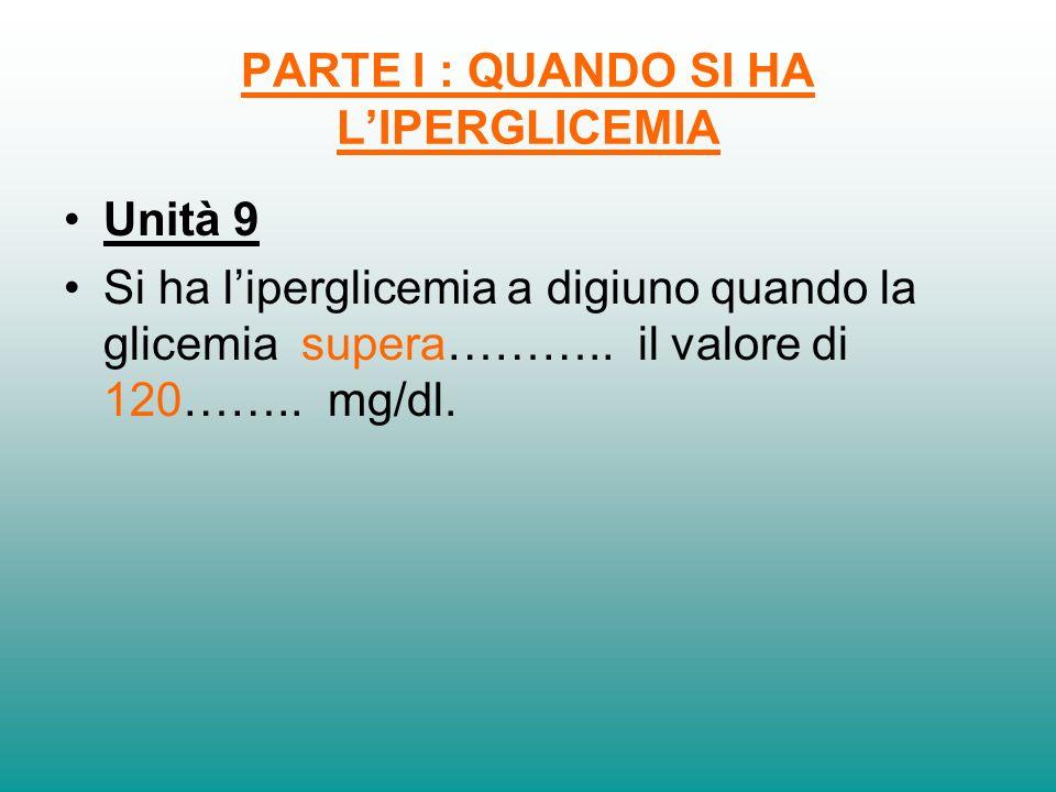 PARTE I : QUANDO SI HA LIPERGLICEMIA Unità 9 Si ha liperglicemia a digiuno quando la glicemia supera……….. il valore di 120…….. mg/dl.