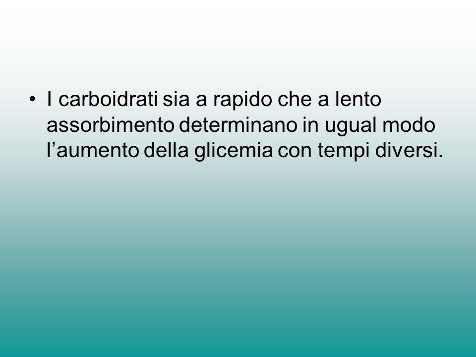 I carboidrati sia a rapido che a lento assorbimento determinano in ugual modo laumento della glicemia con tempi diversi.