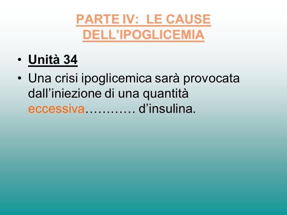 PARTE IV: LE CAUSE DELLIPOGLICEMIA Unità 34 Una crisi ipoglicemica sarà provocata dalliniezione di una quantità eccessiva………… dinsulina.