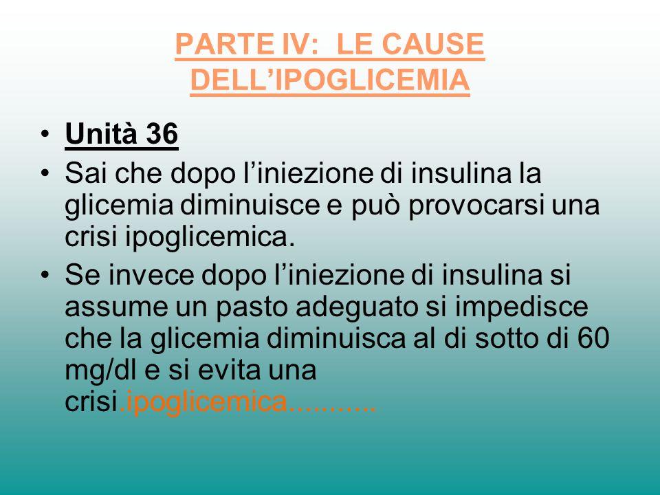 PARTE IV: LE CAUSE DELLIPOGLICEMIA Unità 36 Sai che dopo liniezione di insulina la glicemia diminuisce e può provocarsi una crisi ipoglicemica. Se inv
