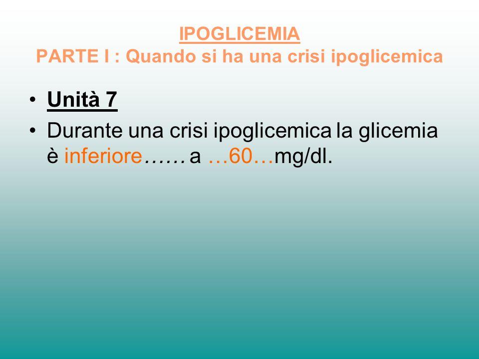 IPOGLICEMIA PARTE I : Quando si ha una crisi ipoglicemica Unità 7 Durante una crisi ipoglicemica la glicemia è inferiore…… a …60…mg/dl.