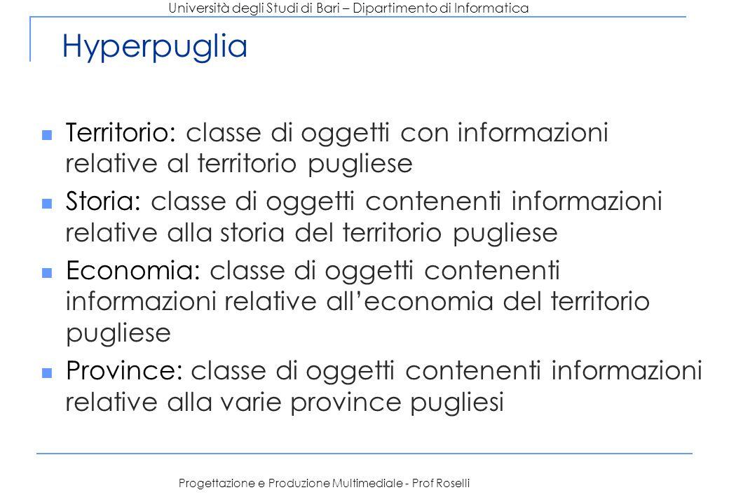 Università degli Studi di Bari – Dipartimento di Informatica Progettazione e Produzione Multimediale - Prof Roselli Hyperpuglia Territorio: classe di